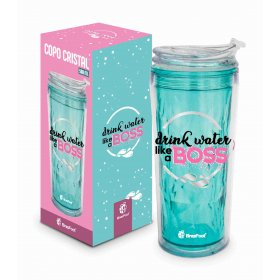 COPO CRISTAL NEW - FRASES - DRINK WATER LIKE A BOSS